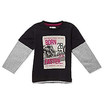 Adams Kids Black Round Neck T-Shirt For Boys