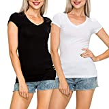 #2: EttelLut Casual V Neck T Shirts Basic Plain Short Sleeve Cotton Top Packs