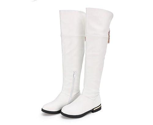 Niña Invierno zapatos Princesa Bailando Moda Encima los Rodilla Cuero Botas  largas  Amazon.es  Zapatos y complementos 5ba6d12aca453
