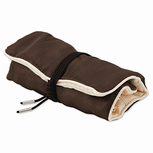 Pack Of 5, Dark Brown With Ivory Trim Jewelry Roll, Best Quality Free Gift - Roll Jewelry Trim