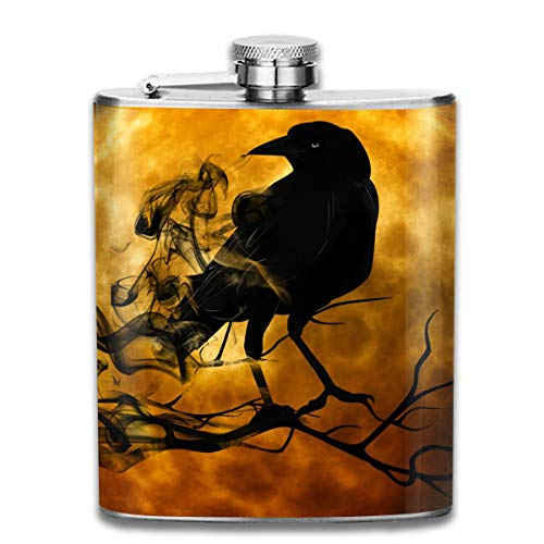 Laki-co Moonlight Crow Hip Flask for Liquor Stainless Steel Bottle Alcohol 7oz
