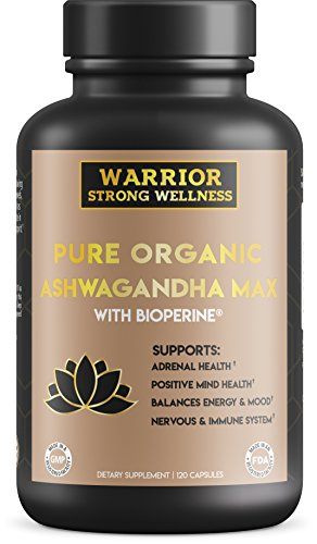 Pure Organic Ashwagandha Max with Bioperine - Grief, Anxiety & Stress Relief, Thyroid Support, Adrenal Support and Fatigue Supplement - 120 Capsules - by Warrior Strong Wellness