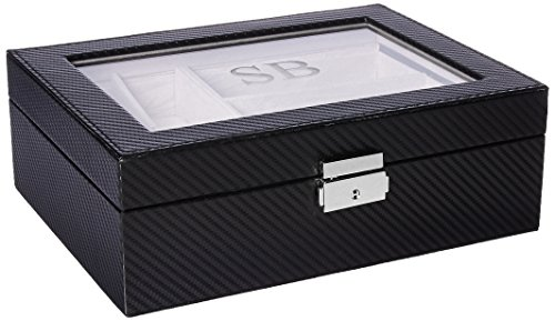 JDS Marketing GC-1372-SB Custom Personalized Men's Watch and Sunglasses Storage Box with