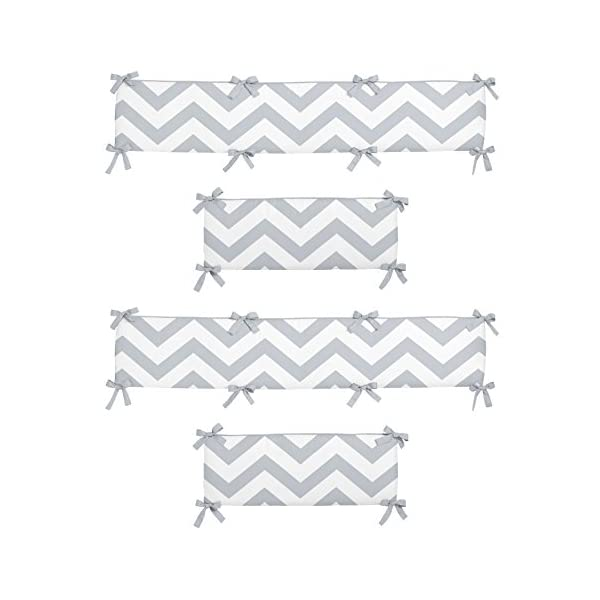Sweet Jojo Designs Gray and White Chevron Collection Crib Bumper