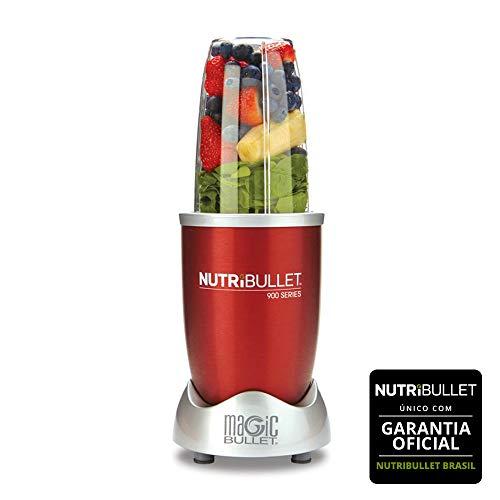 Nutribullet 900w de Potência Vermelho com 9 Itens - 5 em 1 - Liquidificador, Multiprocessador, Blender, Mixer e Moedor 220V