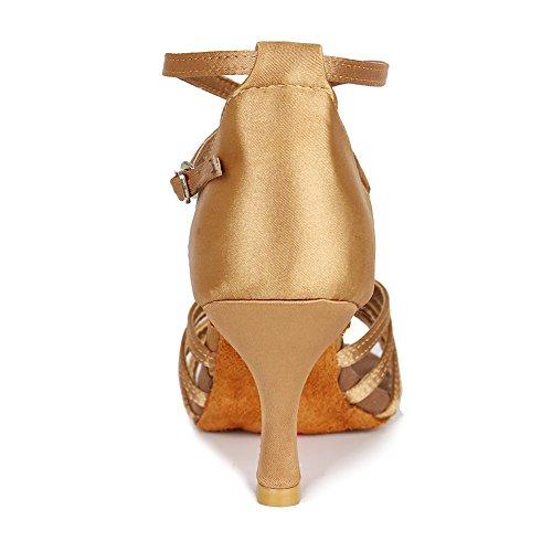 Beige Latin Shoes Ballroom Dance 213 Roymall Performance Tango Shoes Salsa Model Women's Satin 7CM xUnAwHpO