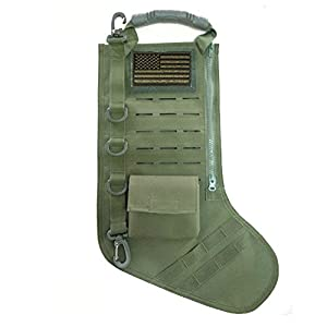TERRATAC Laser Cut Tactical Christmas Stocking New 2017 Model (+ Flag Patch) Gifts for Him, Military, Law Enforcement, Outdoor Lovers