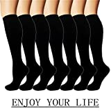 7 Pack Copper Knee High Compression Socks For Men & Women-Best For Running,Athletic,Medical,Pregnancy and Travel -15-20mmHg (S/M, Black(no copper))
