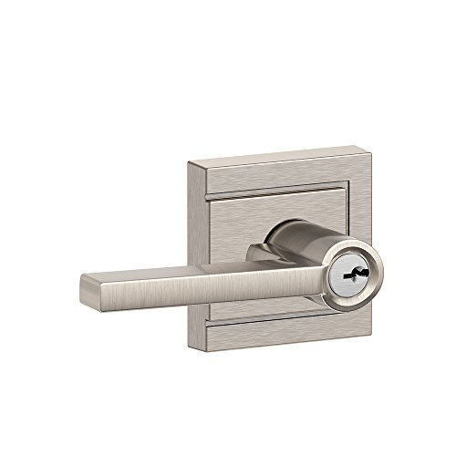 Schlage F51A LAT 619 ULD Latitude Keyed Entry Lever with Upland Trim, Satin Nickel