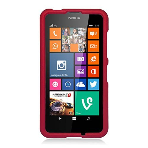 Nokia Lumia 630/635 Case, Eagle Cell Rubberized Hard Snap-in Case Cover For Nokia Lumia 630/635, Red (Snap Red Rubberize)
