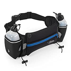 Hydration Running Belt - Nosiva Adjustable Neoprene Water Resistant Waist Fuel Belt Bag, with 2 BPA-free 10oz Water Bottles for Running Hiking Cycling Climbing (Black / Blue)