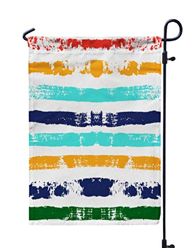 Shorping Holiday Flags for Outside, 12x18Inch Welcome Garden Flag Paint Stripe Pattern Colorful Striped Graphic Background Bright Ink for Holiday and Seasonal Double-Sided Printing Yards Flags]()