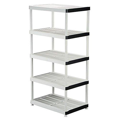 5-shelf Plastic Ventilated Storage Shelving Unit, White, 36 in. W x 72 in. H x 24 in. D (Hdx 5 Shelf)
