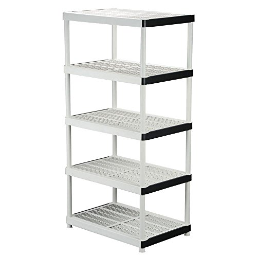 5-shelf Plastic Ventilated Storage Shelving Unit, White, 36 in. W x 72 in. H x 24 in. D (Shelf Ventilated Storage)