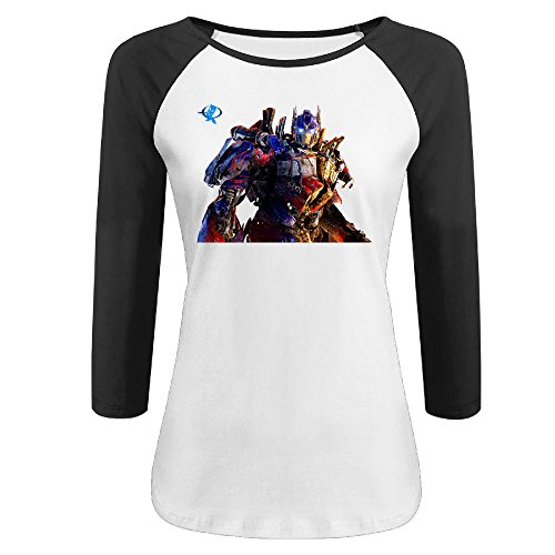 Raw Transformer - Women's Transformers 100% Cotton 3/4 Sleeve Athletic Baseball Raglan T-Shirt Black US Size XXL