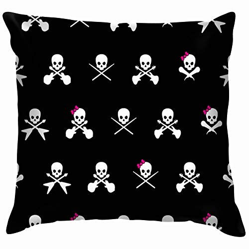 Black White Rock Musician Skull Cross Holidays Funny Square Throw Pillow Cases Cushion Cover for Bedroom Living Room Decorative 18X18 Inch ()
