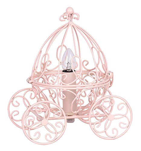 Grandview Gallery Princess Table Lamp - Pretty Carriage Lamp for Little Girl's Fairy or Cinderella Themed Bedroom, Pink