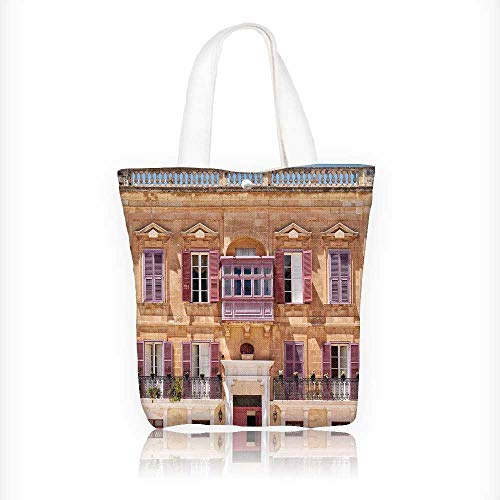 Canvas Tote Bag view of one of the residential houses in mdina with traditional maltese Hanbag Women Shoulder Bag Fashion Tote Bag W16.5xH14xD7 INCH