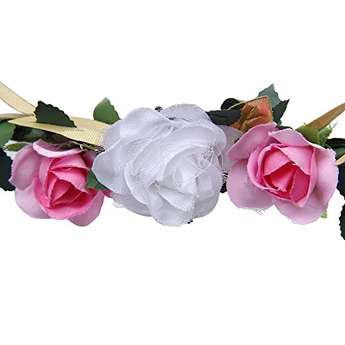 Floral Fall Cute Girls Boho Flower Headband Garland Festival Golden Crown Hair Band (Pink Flower)
