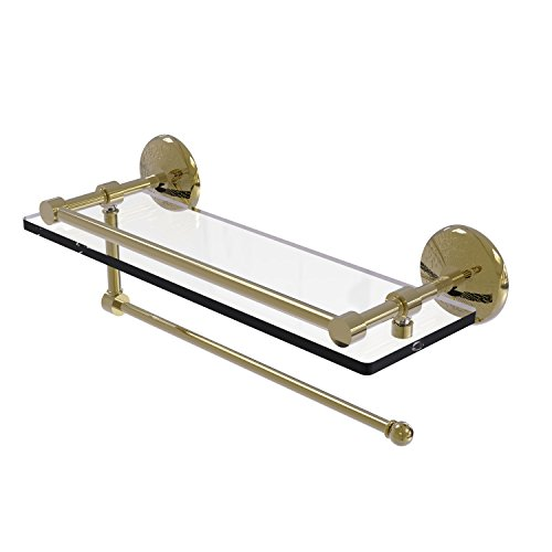 Allied Brass Prestige Monte Carlo Collection Paper Towel Holder with 16 Inch Gallery Glass Shelf PMC-1PT/16-GAL - Unlacquered Brass by Allied Precision Industries