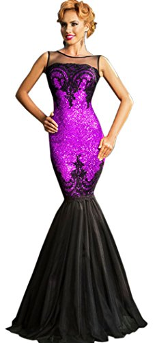 [TomYork Cyber Monday Sequin Applique Evening Party Mermaid Dress(Purple)] (Witch Coustumes)