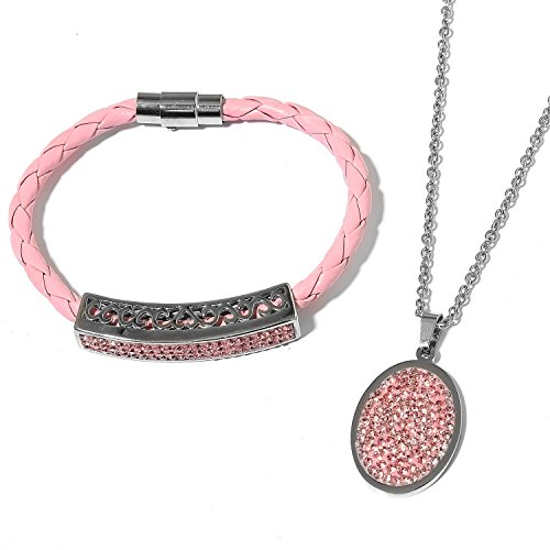 Simulated Pink Sapphire Pink Woven Faux Leather, Steel Cluster Bracelet Pendant with Chain Size 8