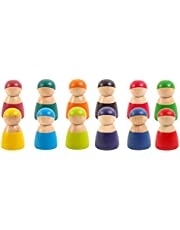 TOYANDONA Colorful Wood Peg Dolls Pretend Play People Figures Wooden Toddler Toys Preschool Learning Educational Toys