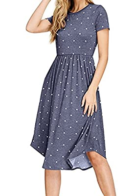 Simier Fariry Women Summer Pleated Polka Dot Pocket Loose Swing Casual Midi Dress