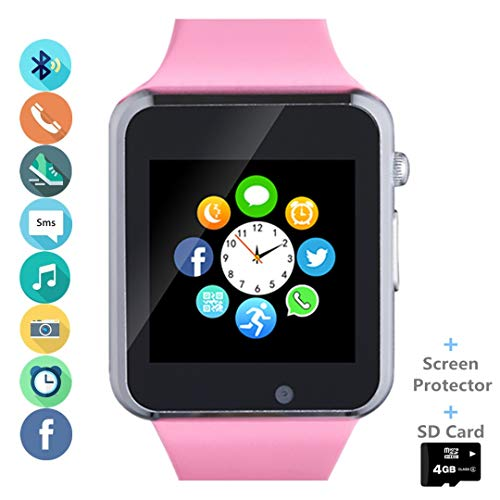 Smartwatch Smart Watch Phone with SD Card Camera Pedometer Text Call Notification SIM Card Slot Music Player Compatible for Android SamsungLG Huawei and IPhone (Partial Functions) for Women Girl - Pink Ladies Watch Player