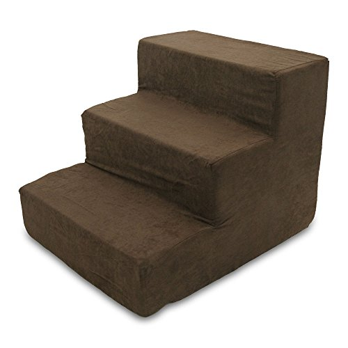 Best Pet Supplies ST200T-S Foam Pet Stairs/Steps, 3-Step, Dark Brown (Ramp Step Pet)