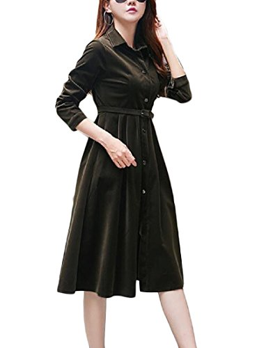 corduroy Waist Coolred Long Sleeve Long Dresses Black Sections Women HZxCwUq