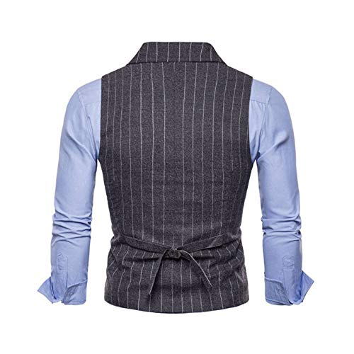 Costume Dark Classique V Col Manches Gray Formel Veste Sans Slim Simple Tweed Hommes Gilet Bmeig b Boutonnage Business Rétro Fit EFWqaTn