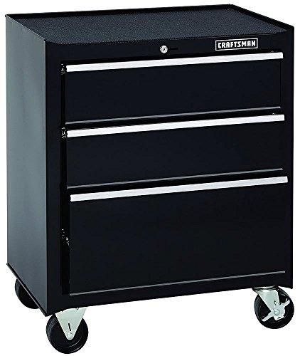 Craftsman 26 in. Wide 3-Drawer Standard Duty Ball-Bearing Rolling Cabinet - Black Craftsman 3 Drawer Ball Bearing