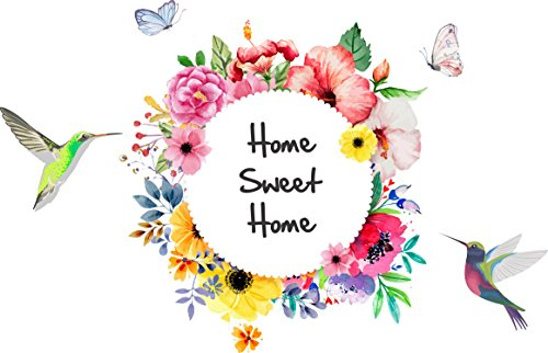 Studio Curate Wall Sticker for Living Room, Bedroom, Hall, Kitchen Decor | Home Sweet Home, Flowers...