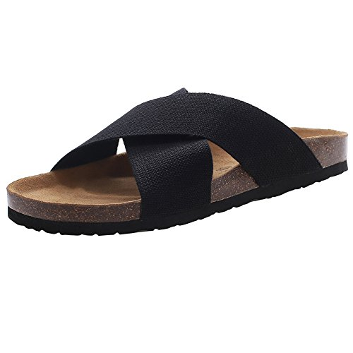 VVFamily Black Sandals Platform Cork Footbed Slides Comfort Elastic (EU 42, (Womens Criss Cross Sandals)
