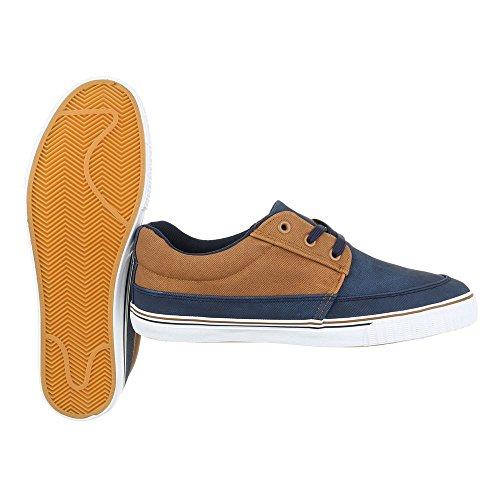 Ital-Design - Zapatos Planos con Cordones Hombre Dunkelblau Camel