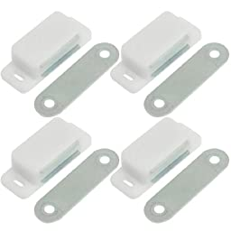 uxcell White Plastic Shell Magnetic Cabinet Catch Latch Plate Pack of 4