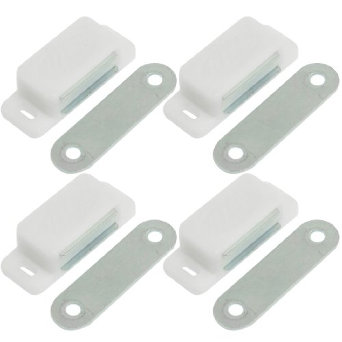 Plastic Latch (uxcell White Plastic Shell Magnetic Cabinet Catch Latch Plate Pack of 4)