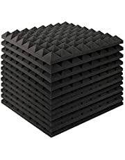 MAYQMAY Pyramid Acoustic Foam Panels Tiles Fireproof Soundproofing Treatment Wall Panels, Noise Cancelling Foam for Recording, Offices, Home, Studios, Black