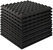 MAYQMAY Pyramid Acoustic Foam Panels Tiles Fireproof Soundproofing Treatment Wall Panels, Noise Cancelling Foa