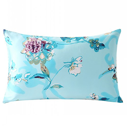 ZIMASILK 100% Mulberry Silk Pillowcase for Hair and Skin Health, Both Side Silk,Floral Print, 1pc (Queen 20x30, pattern6)