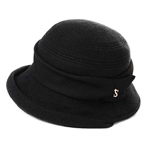 Derby 1920s Fedora Round Bucket Winter Bowler Beret Painter Hat for Women Black