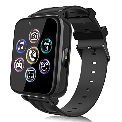 Smartwatch voor kinderen, horloge telefoon voor meisjes jongens touchscreen met muziekspeler, spel, camera, zaklampen…