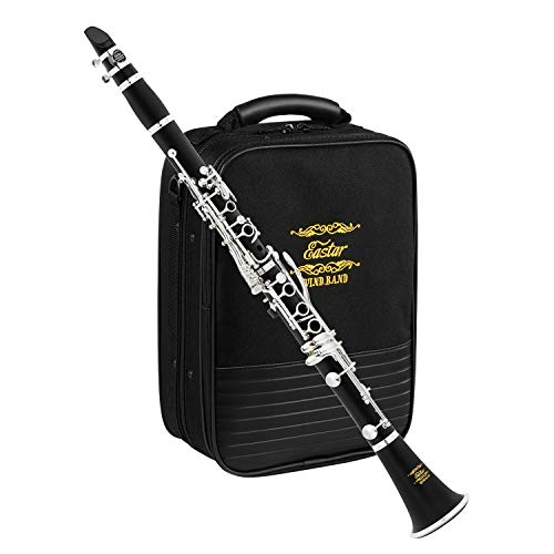 Eastar B Flat Clarinet Wind Band ECL-400 Commander Ebonite Silver Keys with Hard Case, 4C Special Practice Mouthpiece (Best Clarinet For Marching Band)