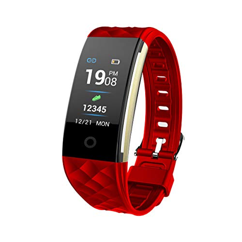 ERLIANG Color Screen Heart Rate Health Monitoring Bluetooth Multi-dial Large Screen Bracelet,Red ()