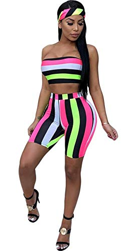 Women's Sexy Bra Crop Top and Short Pants Jumpsuits Set 3 Piece Outfits with Headband Scarf (Multicolor, S) 3 Piece Shorts Outfit
