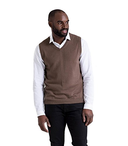 WoolOvers Pullunder aus Baumwolle-Kaschmirwolle für Herren Mocha Brown, M