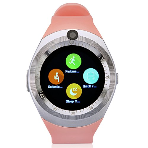 Smart Watch, Bluetooth Smartwatch with Camera Touch Screen Pedometer Sleep Monitoring for Android and IPhone (Partial Functions) Pink