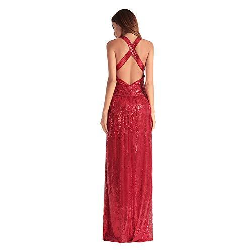 Cóctel Cruz Vestido Wraped Midi Sin De Cjjc Red Espalda Bola Sexy Noche Mujeres Baile Vestidos Moda Para Lentejuelas wqFFpROY