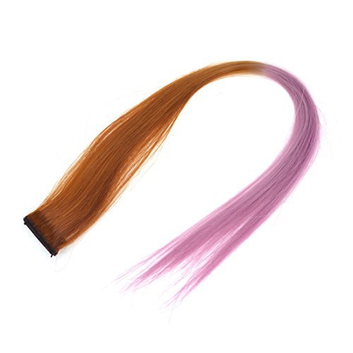 eDealMax rendimiento sinttico Recto Etapa Clip-On peluca peluca, Rosa/Brown, 0,04 la Libra